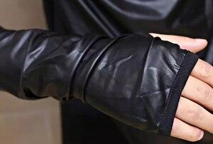 Image 5 - Thời Trang Thoáng Mát Nam Punk Áo Thun Dài Tay Ôm Phù Hợp Với Đá Gothic Quần Áo Màu Đen Lycra Cotton
