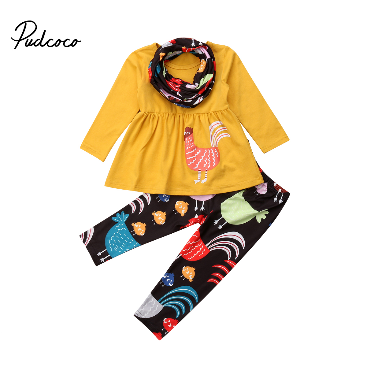 Pudcoco Baby Girl Thanksgiving Clothes Set Baby Girls 3 Piece Set Suit Cotton Top Dress + Long Pants + Scarf  Baby Girl Outfits