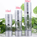 airless cosmetic cream pump containers,lotion cream vacuum bottles with pump,Matte silver airless pump bottle.