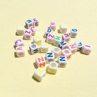3000 Adet/grup 6*6 MM Küp Kare Alfabe Mektuplar Boncuk Big Hole Beyaz Akrilik Renkli İlk Harf ile Bilezik Spacer Boncuk