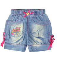 Girl S Embroidery Character Pattern Short Jeans With Pockets Bow Elastic Waistband For 18M Kids 80933