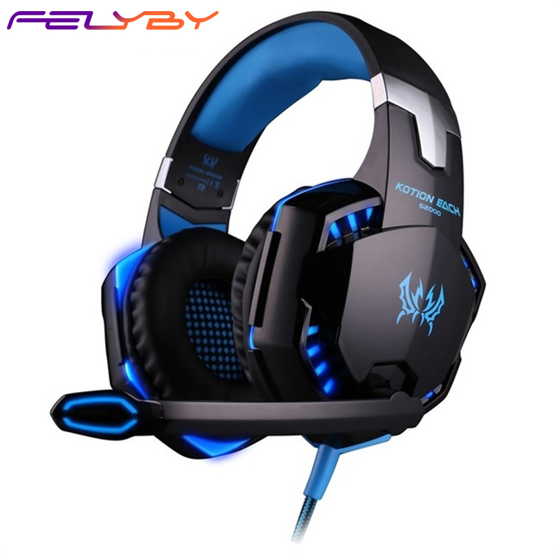 FELYBY <font><b>G2000</b></font> Wired Headphone headphones Gaming Headset Noise Cancelling LED Headphones with Microphone for phone Computer image