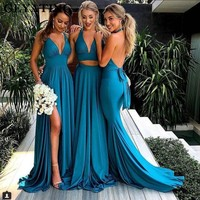 Turquoise Blue Side Slit Mermaid Bridesmaid Dresses Long Sexy Backless Wedding Party Dress 2018 V Neck Bride Maid of Honor Gowns