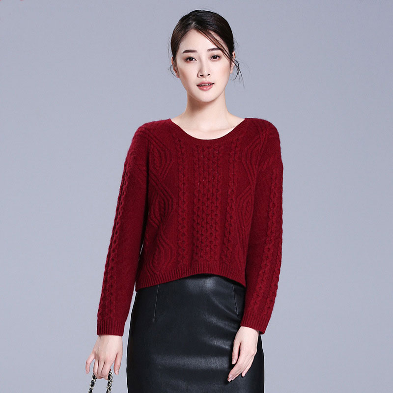 2018 New 100 Pure Cashmere Chunky Womens Sweaters Casual O neck Solid Color Long Sleeve Autumn