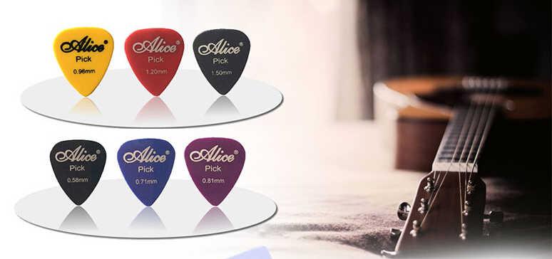50 stks/partij plectrums Alice akoestische elektrische gitaar accessoires muziekinstrument dikte 0.58-1.5 kan kiezen Y14 GYH