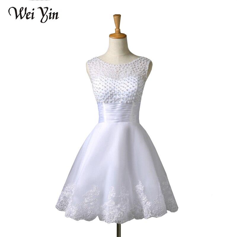 Weiyin2018 nueva Blanco/De marfil cortos novias Sexy Vestido nupcial del Vestido De boda del cordón Vestido De Noiva Real muestra