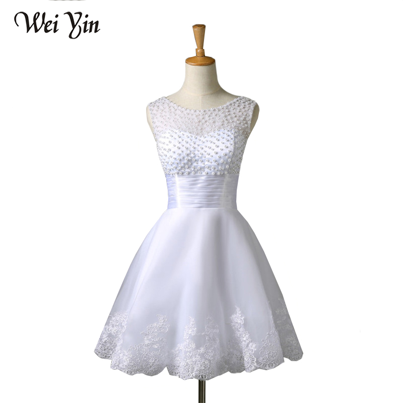 weiyin 2019 New White/Ivory Short Wedding Dresses The Brides Sexy Lace Wedding Dress Bridal Gown Vestido De Noiva Real Sample