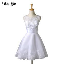 Weiyin 2019 новое белое/слоновая кость Короткое свадебное платье es невесты сексуальное кружевное свадебное платье Vestido De Noiva Реальный образец