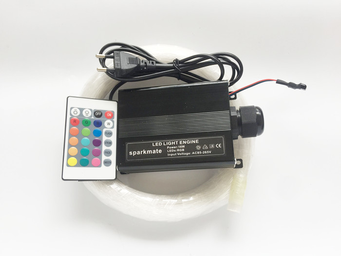 Sparkmate 16W RGB 0.75mm*160pcs*2m LED Fiber optic light Star Ceiling Kit optical lighting+24key Remote engine