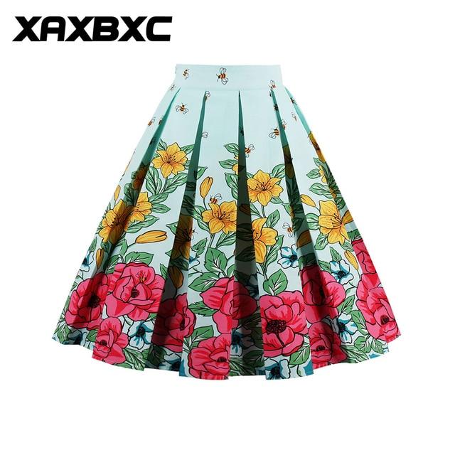 Xaxbxc Summer 1950s Vintage Bubble Skirt Flower Bee Flying Honeybee