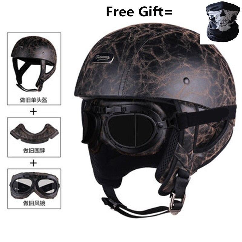 Image 5 - Skull Cap Motorcycle Helmet Vintage Half Face Helmet Retro German Style chopper Cruiser-in Helmets from Automobiles & Motorcycles