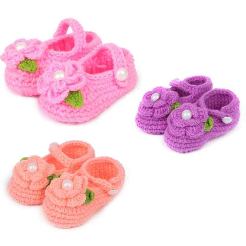 ARLONEET Baby Shoes Girl Boy comfortable Handmade Knit Sock Infant Rose Shoes Crib Crochet Casual Baby Girls Shoes