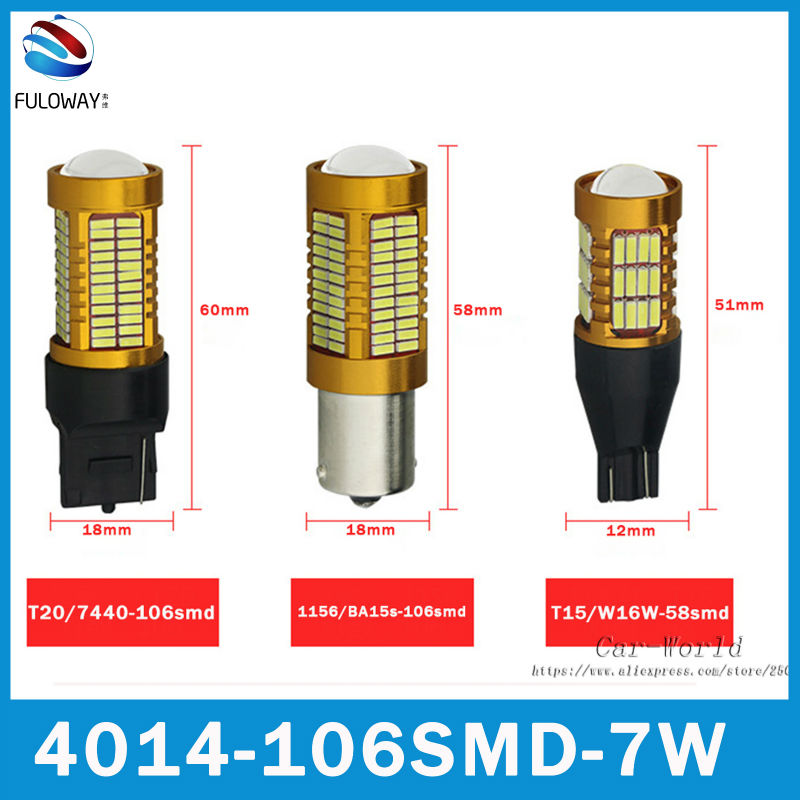 2x T15 W16W/7440 W21W/1156 BA15S P21W Canbus LED 4014 SMD 12V Car Daytime Running DRL Turn Signal Backup Reverse Light Lamp Bulb wljh 2x canbus led 20w 1156 ba15s p21w s25 bulb 4014smd car lamp drl daytime running light for volkswagen vw t5 t6 transporter