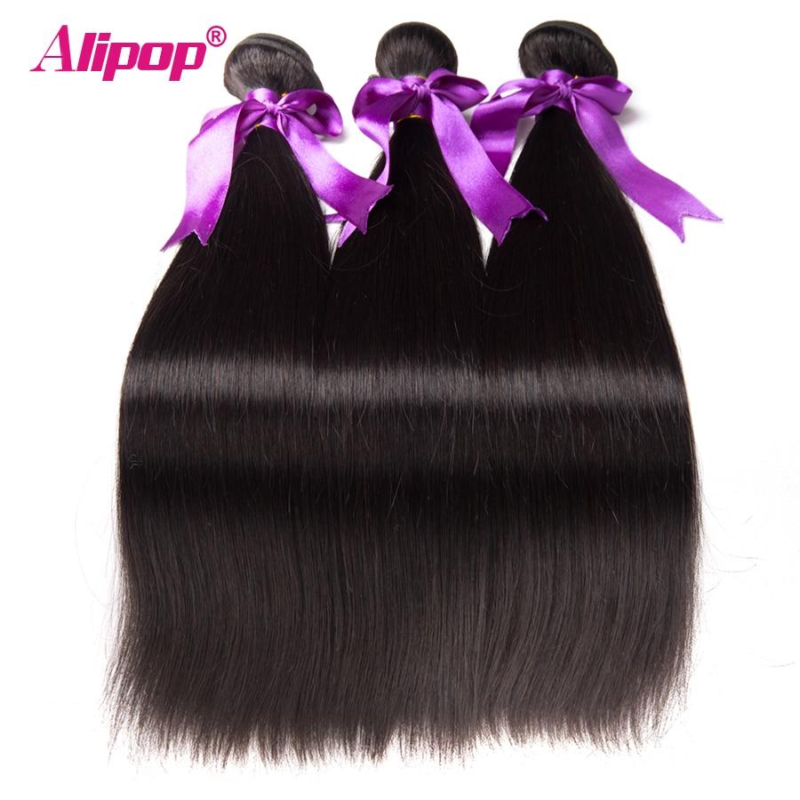 ALIPOP Малайзии прямые волосы Связки человеческих волос Связки Волосы remy расширения 3 Связки могут быть окрашены Natural Black Нет Сарай