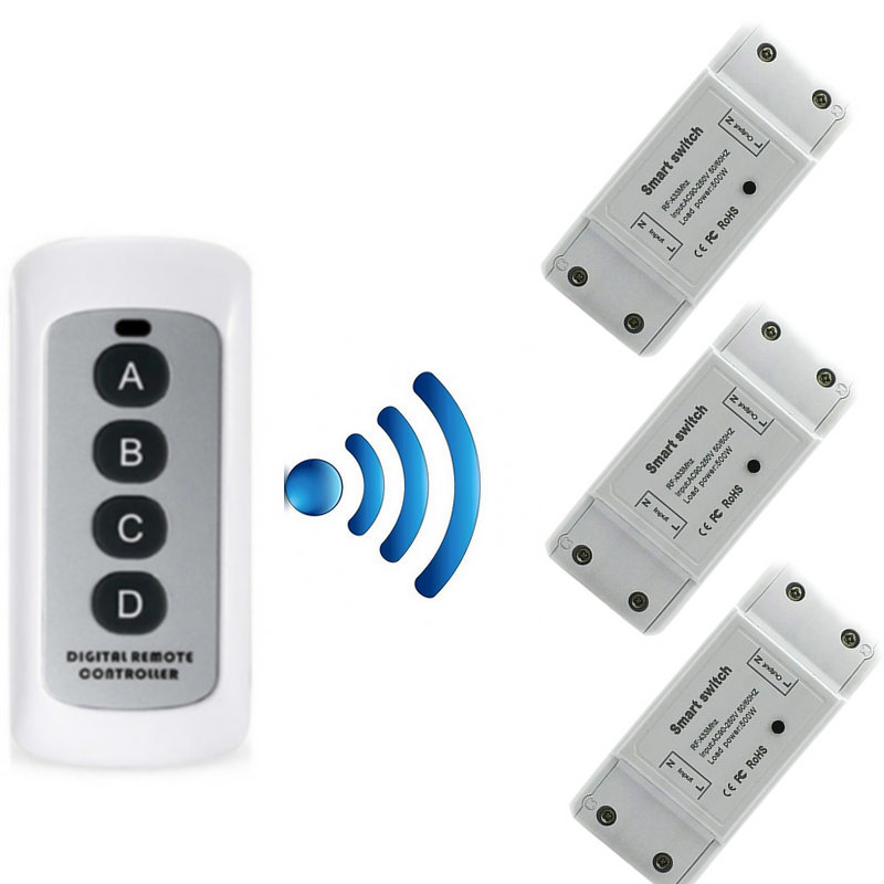 RF433 remote control switch transmitter receiver smart switch for home modification diy receiver module switch in Switches from Lights Lighting