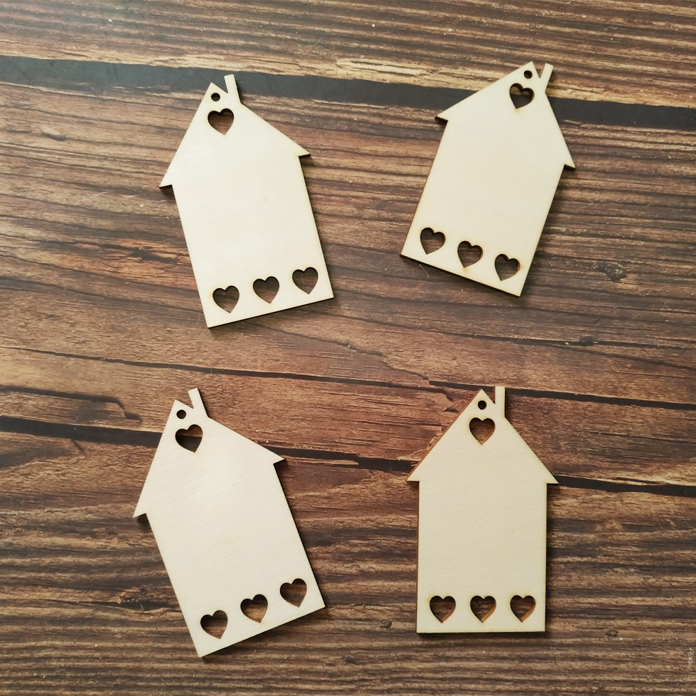 10x Wooden House Shape Gift Wrapping Craft Shapes Party Favor House With Hole Christmas Ornament Gift Tags Hanging Decoration