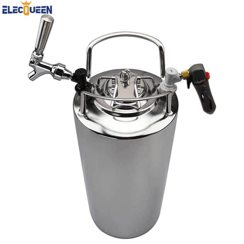 5 Gallon 19L Cornelius Style Draft Beer Keg Stainless Steel Beer Faucet Taps & CO2 Keg Charger Kit ,Large Capacity Corny Kegs