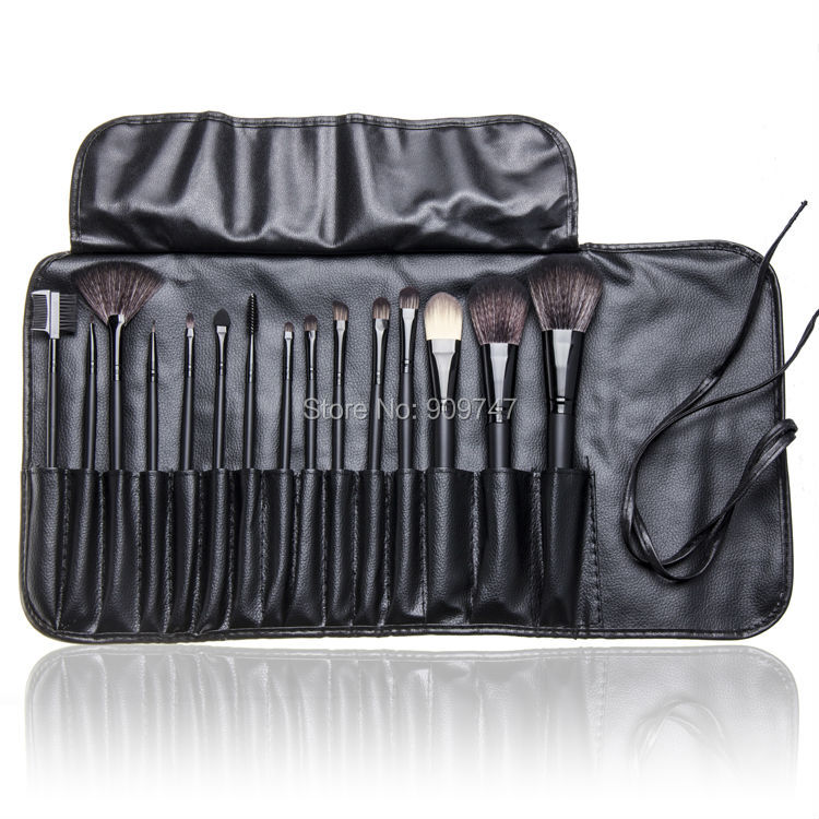New Makeup 15 Pcs Soft Synthetic Hair Make up tools kit Cosmetic Beauty Makeup Brush Set Case free shipping free shipping 15 pcs soft synthetic hair make up tools kit cosmetic beauty makeup brush black sets with leather case