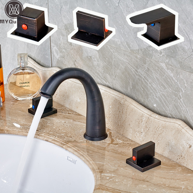 Newly 8 Inch Widespread Basin Faucet Dual Handle 3 Holes WC Lavatory Sink Mixer Taps Oil Rubbed Bronze Finish oil rubbed blacken widespread 8 inch deck mounted basin mixer taps dual cross knob bathroom lavatory sink faucet