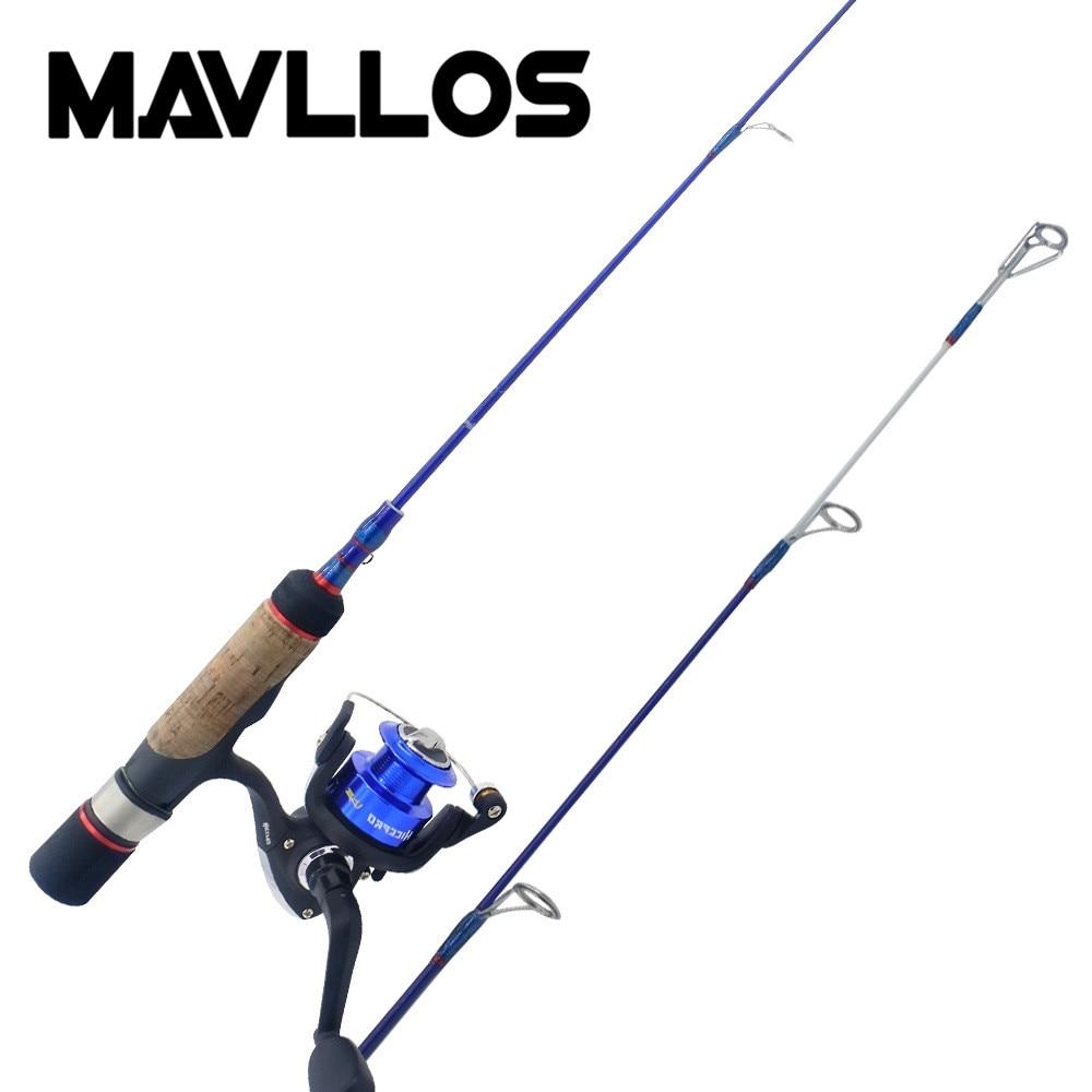 Mavllos Ultra Light Portable Fishing Ice Rod Reel Combo 5BB Spinning Reel 52.5cm 2 Section Mini Fishing Rod Fishing Set