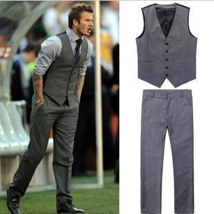 (Pant+ vest)Mens Vest with Pants Wedding Suit Vest Pant Stage Grey Marriage Suit vest Casual Fashion Design