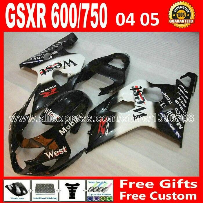Горячая распродажа для 2004 2005 SUZUKI GSXR 600 750 новый белый черный запад зализа K4 RIZLA версия gsxr600 04 05 TVJ GSX R750 7 подарок 365