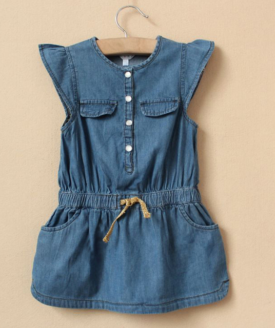 Free shipping 2013 hiqh quality 5pcs/lot  girl's denim material short sleeve casual dress with gold belt  and two pocket