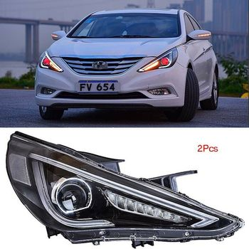 Dynamic Turn Signal LED Headlight DRLs Bi Xenon Projector Lens Fit For Hyundai Sonata 2010-2015