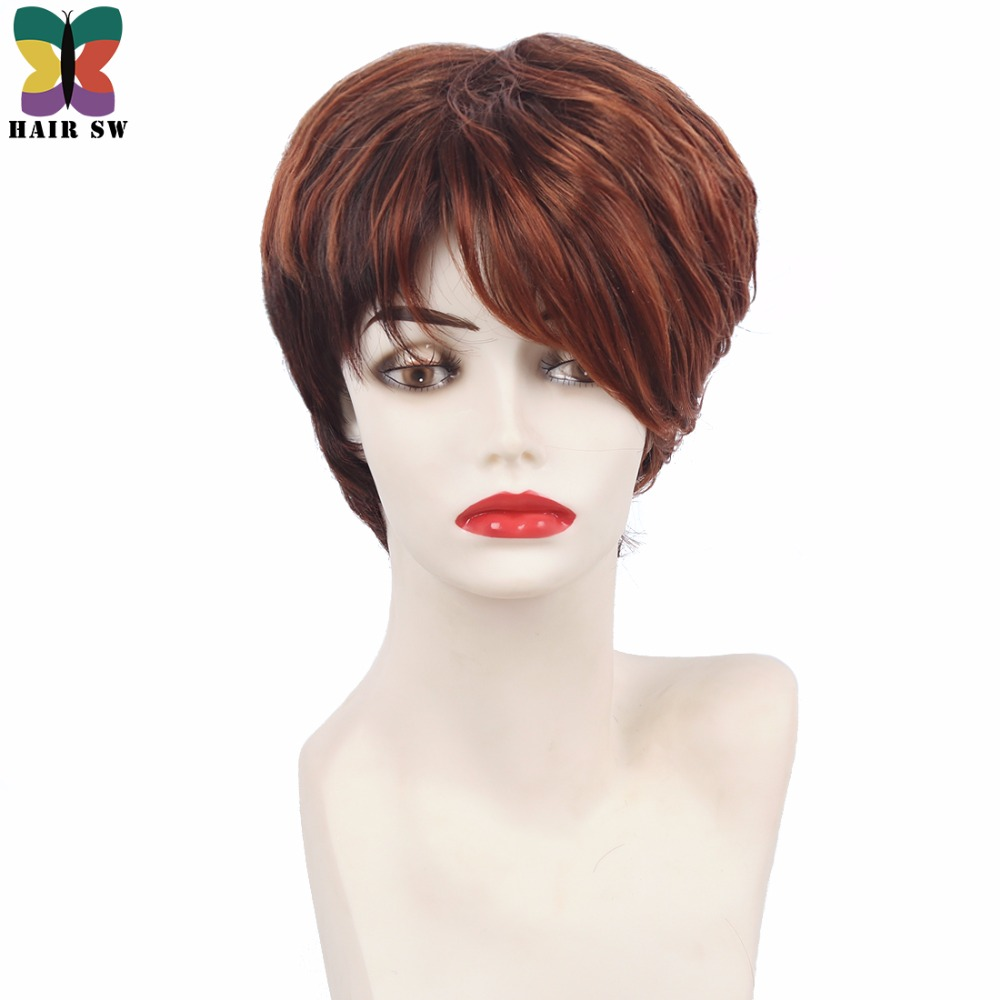 HAIR SW Short Pixie Cut Copper Red Highlighted Medium Auburn Synthetic Wig With Bangs For Afro Women
