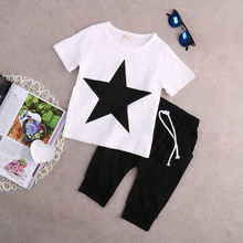 2 Pieces Children Sets  Age 5-6  years old   Baby Boys Clothes  Star Tops Cotton T-shirt and  Harem Pants Outfits Set