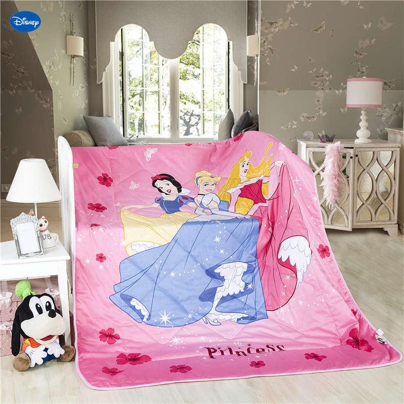 Rose Disney princesse courtepointes été couettes literie coton couverture de lit 3D imprimé sirène dessin animé chambre décor filles enfants