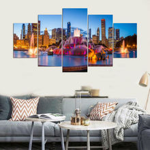 Pictures Vintage Home Decor Paintings On Canvas Landscape 5 Piece Beautiful Fountain Wall Pictures For Living Room HD Print YGYT