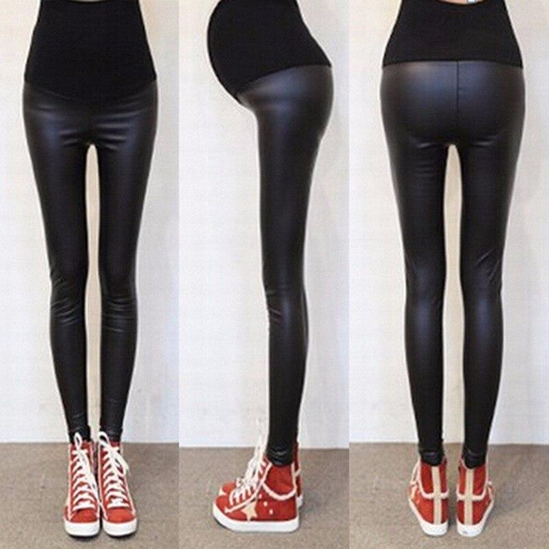 Nova marca primavera e verão preto imitação de couro lápis calças abdominais mulheres grávidas leggings calças jeans
