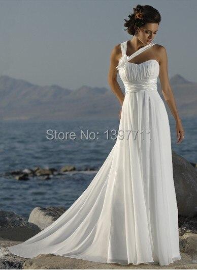 Hot 2017 New Y Beach Wedding Dress And Overseas One Shoulder Flower Beautiful Generous