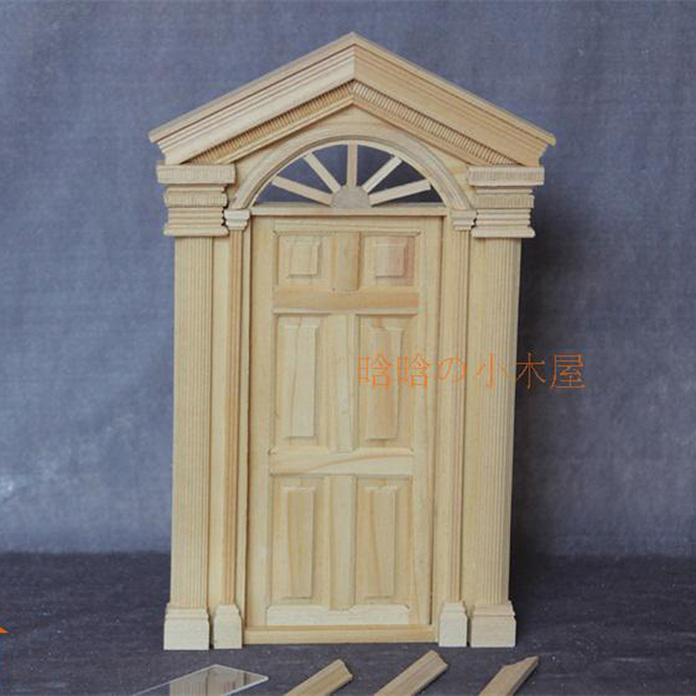 1:12 Dollhouse Miniature DIY Material Wooden Luxury Exterior Door Unpainted  6 Panel #