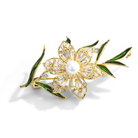 Richight Classic Enamel Pins Cubic Zirconia Flower Brooches for Women Rhinestone Brooch Jewelry Luxury 850413