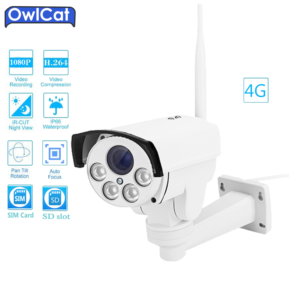 OwlCat HD 1080P 960P Outdoor Bullet 4G SIM Card PTZ IP Camera WIFI 2MP 5X Zoom Auto Focus AP SD Audio MIC Security CCTV Camera free 32gb sd card ptz cam 1080p 960p 3g 4g sim card camera wifi outdoor hd bullet camera wireless 5x zoom auto focus ip camera