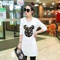Top!!! camiseta de algodón de las mujeres 2017 de Moda Mickey Mouse Lentejuelas Camiseta Coreana de Las Mujeres Más El Tamaño Del O-cuello Longitud Larga Linda Camiseta de Las Mujeres
