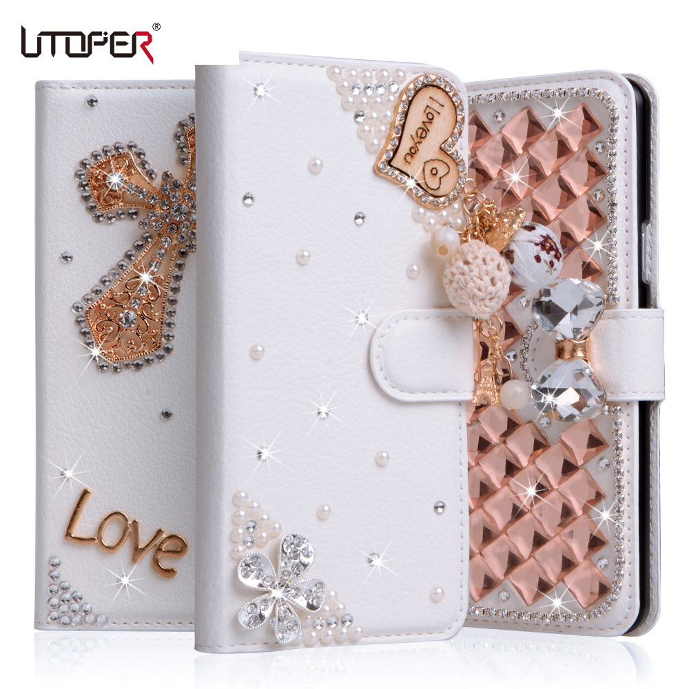 Luxury Rhinestone Case For LG X Cam K580 K580DS Case Frame Filp Leather Cover Flower Diamond Wallet Stand Holder Phone Cases