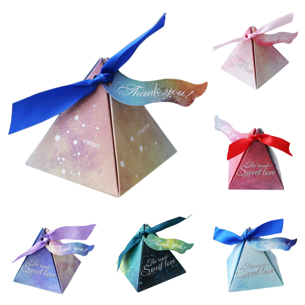 10pcs Romantic Starry Sky Wedding Gift Packaging Boxes Pyramid ...