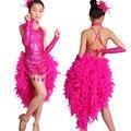 #1801 Производительность Латинский танец Латинский танец носить цельный платье Латинский танец юбка костюм перо