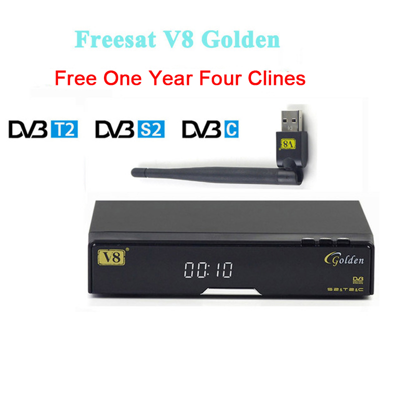 Best V8 Golden receptor Satellite dvb t2/s2/c satellite receiver+1 year europe four clines Support PowerVu Biss Key via USB WIFI