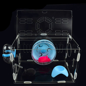 SMARTPET Acrylic Transparent Hamster House Small Pet Cage Mouse House Castle Hamster Nest with Environmental Material 2