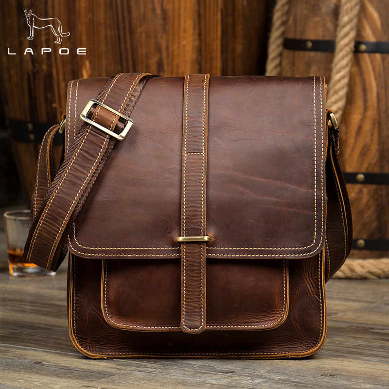 LAPOE Crazy Horse Genuine Leather Men Bag Male Vintage Small Shoulder Messenger Bags Crossbody Bags Messenger Bag Men Leather jason tutu genuine leather crossbody bags cow leather multi function shoulder bag brands men messenger bags small bag hn54
