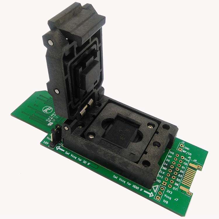 eMMC test adapter with SD Interface, HDMI Interface bonding pads 11.5*13mm Clamshell for BGA153 <font><b>BGA169</b></font> <font><b>socket</b></font>,for data recovery image