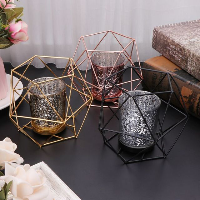 Nordic Style 3D Geometric Candlestick Metal Candle Holder Wedding Home Decor Hot 2
