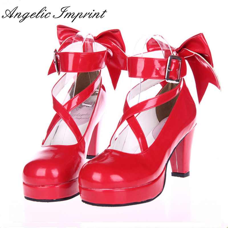 6.5cm High Heels Red Strappy Pumps Princess Lady Sweet Lolita Cosplay Party Shoes 2018 spring sweet bow elegant lolita cosplay shoes chunky high heel pumps princess party shoes