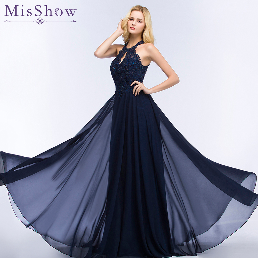 2018 Navy Blue Evening Dress Prom Party Gowns Long Formal Women ...