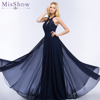 2019 Navy Blue Evening Dress Prom Party Gowns Long Formal Women Dresses with Beading Sexy Cut Out Design A line Vestido De Festa