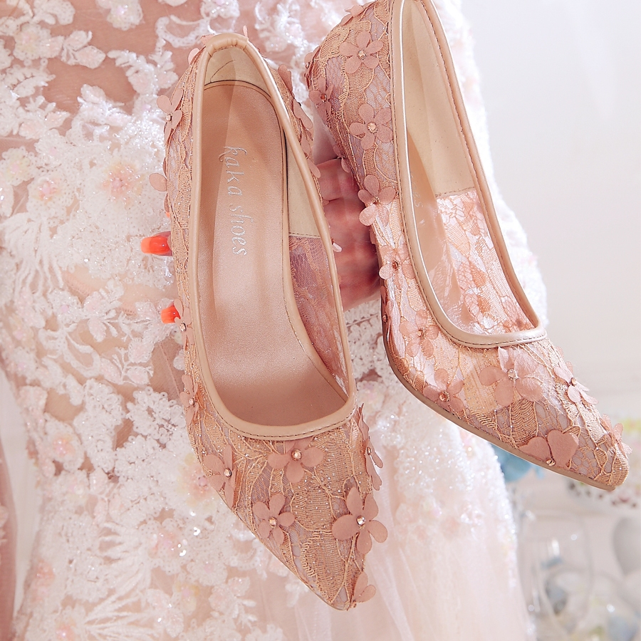 Hollow mesh lace single shoes 2017 new fine-heel red wedding shoes high heels wedding bride's shoes